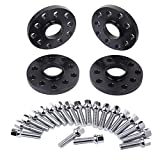 SLL-016BK 4pc 15mm 5x112 5x100 Hubcentric Wheel Spacers with 10pc Silver Lug Bolts (Ball Radius Seat) for Audi TT A3 A4 A6 A8 S4 S6 S8 Volkswagen Jetta Golf GTI R32 Corrado Beetle EOS CC Passat