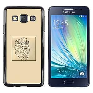FlareStar Colour Printing Smart Smile Poster Paper Artist Sketch cáscara Funda Case Caso de plástico para Samsung Galaxy A3 / SM-A300