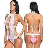 Avidlove Women Sexy Lingerie Lace Halter One Piece Teddy Babydoll Bodysuit White M