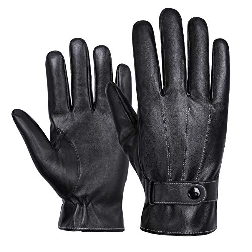 WHEEL UP Winter Luxury Nappa Leather Gloves for Men - Business - Touchscreen - Waterproof - Cold Weather - Fleece Lining - Driving - Commuting (Free Size)