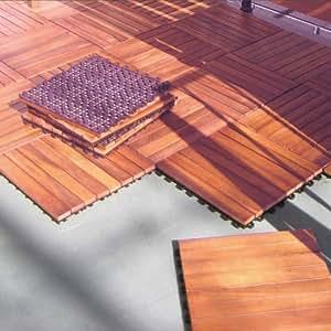 Amazon.com: Interlocking Wood Deck Tile FSC Eucalyptus-10