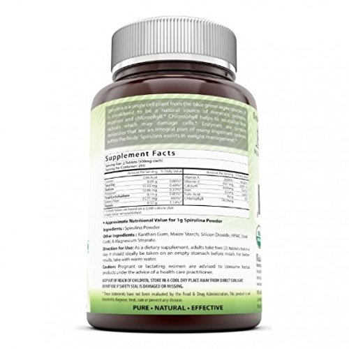 Amazing India Spirulina - 500 mg 500 Tablets (Non-GMO) - Supports Cell Regeneration, Immune Health, Detoxification & Overall Health