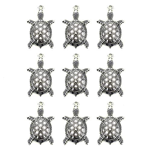 WSSROGY 20Pcs Hollow Tortoise Sea Turtle Charms Pendant Findings for Jewelry Making Antique Silver (Turtle Charm Earrings)