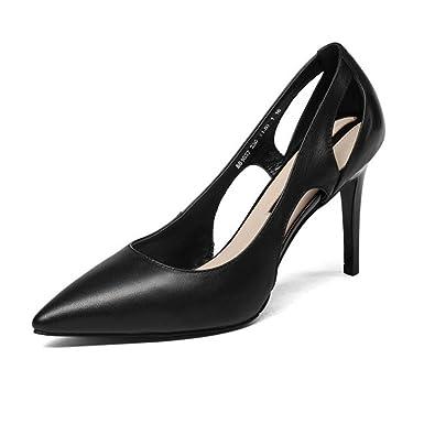 fcb9d1cb6d31 Sommer Frauen Spitz Stilettos High Heel Hohle Sandalen Kleid Pumps Court Schuhe  Hochzeit Abendgesellschaft Prom Schuhe (schwarz Weiß)  Amazon.de  Bekleidung