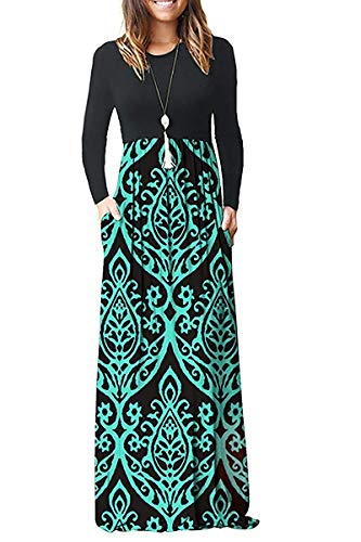 MISFAY Women's Long Sleeve Loose Plain Maxi Dresses Casual Long Dresses with Pockets (L, 2-ls Black Green) (Ls Dark Green)