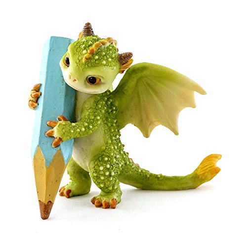 (Top Collection Rex The Green Dragon - The Aspiring Writer 2.75-Inch Cute Magic Dragon Statue, Mini Collectible Fantasy Figurine)