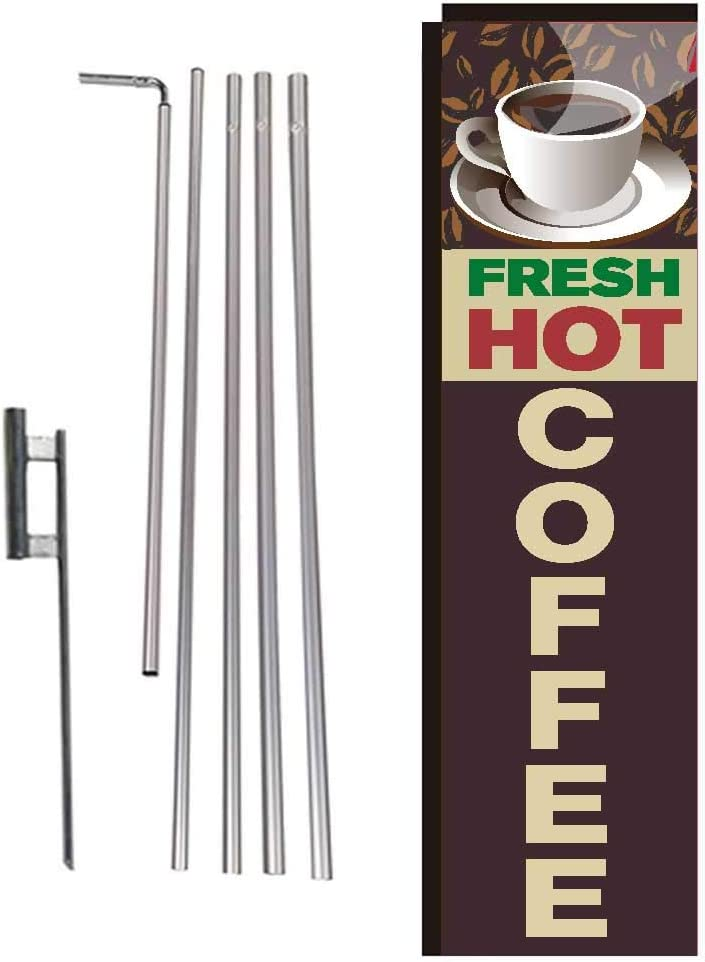 Fresh Hot Coffee Restaurant Rectangle Feather Banner Flag with Pole Kit and Ground Spike for Restaurants, Markets, Business Owners