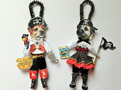 Border Terrier PIRATE & Wench HALLOWEEN ORNAMENTS Vintage Style Dog Chenille Ornaments Set of 2]()