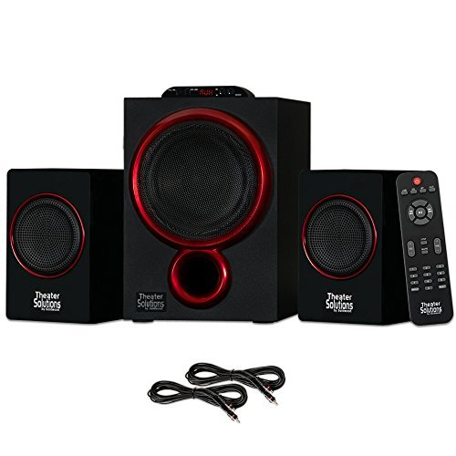 Theater Solutions TS212 Powered 2.1 Bluetooth Speaker System with 2 Extension Cables