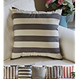 """TangDepot Decorative Handmade Striped Cotton Throw Pillow Covers /Pillow Shams, 4 Color & 7 Size options, Black/Beige, Blue/Yellow, Brown/Beige, Brown/Blue, 12""""x18"""", 16""""x16"""", 18""""x18"""", 20""""x20"""", 22""""x22"""", 24""""x24"""" and 26""""x26"""" - (16""""x16"""", Black, Beige)"""