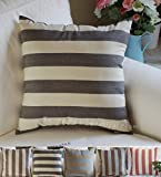 "TangDepot Decorative Handmade Stripe Cotton Throw Pillow Covers, Pillow Shams, Euro shams - (26""x26"", Black, Beige)"