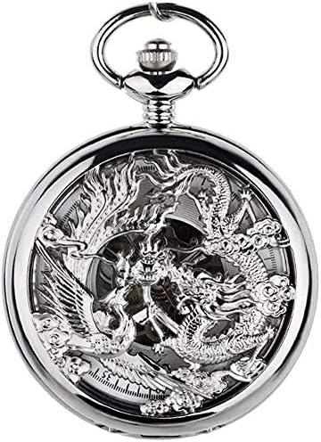 フェニックス、自動巻き懐中時計刻まれた結婚式レトロフリップのカップル機械式腕時計中国風懐中時計、色名:1 (Color : 2)
