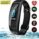 High-End Fitness Tracker HR, Activity Trackers Health Exercise Watch with Heart Rate and Sleep Monitor, Smart Band Calorie Counter, Step Counter, Pedometer Walking for Men & Women (Black/Black)
