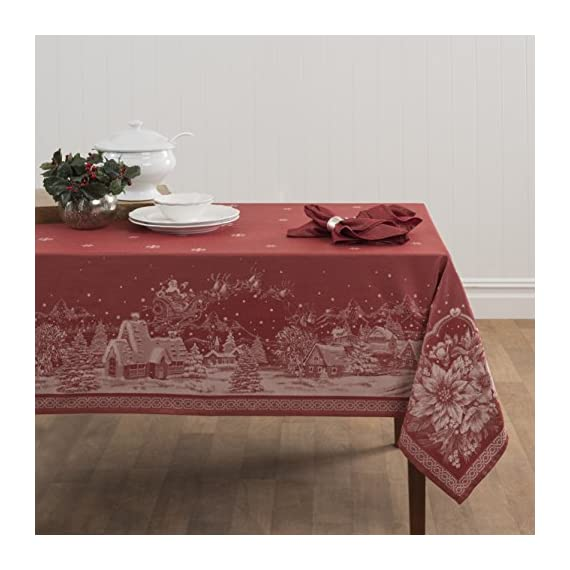 "Benson Mills Christmas Story Engineered Jacquard Fabric Tablecloth, 60"" by 84"" - Please search Benson Mills to view our entire line of everyday, holiday tablecloth and placemats, fulfilled by Amazon. Inexpensive and impressive! Majority cotton, Launders Beautifully - tablecloths, kitchen-dining-room-table-linens, kitchen-dining-room - 51GNfMmnhNL. SS570  -"