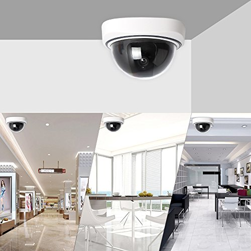 Fake Security Camera 2 Pack Simulated Surveillance Dome Dummy Cameras with LED Light Blinking for Home CCTV Outdoor or Indoor Use