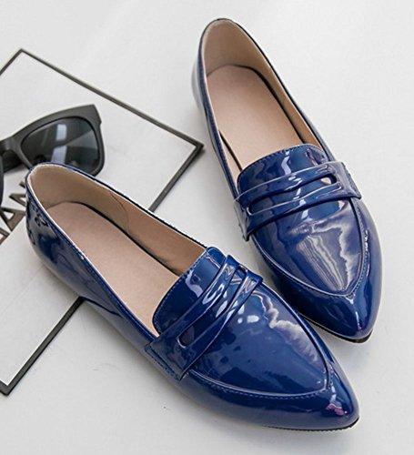 Scarpe Basse Easemax Womens Stylish Low Top In Vernice A Punta Blu