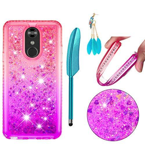 LG Stylo 4 Case, Fashion Design Shiny Gemstone Rhinestone Bling Glitter Sparkle Flowing Liquid Quicksand Moving Sequins Protective Soft TPU Rubber Cover for LG Stylo 4 - Pink Purple