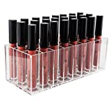 Dealight Lipstick Organizer, Acrylic Lipstick Holder for Lip Gloss Makeup & 24 Spaces Cosmetics Storage Display Organizer for Brushes(Clear)