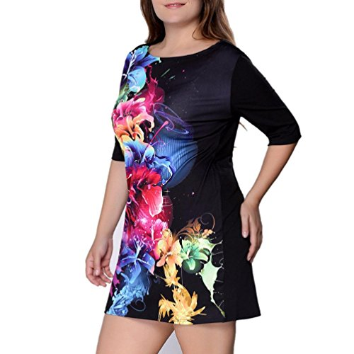 Plus Size TOOPOOT Women Floral Print Half Sleeve Casual Dress (XXL)