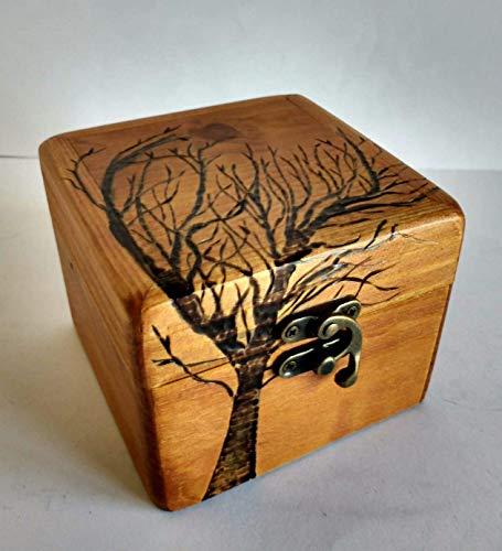 Caja joyero de madera reciclada de palet con grabado pirográfico ...
