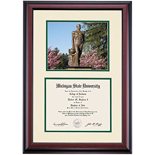 Campus Linens Michigan State Spartans Diploma Frame Ivory Green Matting Photograph