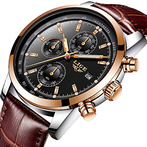 Mens Watches Fashion Sport Waterproof Watch Top Brand LIGE Chronograph Date Watch Men Business Dress Calendar Gold Wristwatch Casual Leather Strap