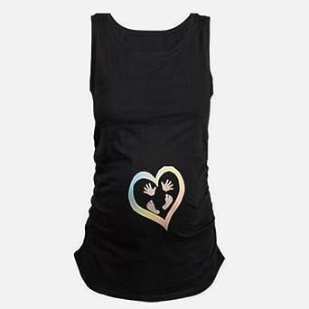 Cinnamou Camiseta Huellas Estampado para Mujeres Embarazadas, Chaleco Sin Mangas con Cuello Camisola Premamá y de Lactancia Tops Verano: Amazon.es: Ropa y ...