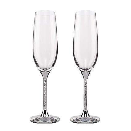 2dba25415fe Silver Champagne Flutes - Crytstal Base   Rhinestones Fittings Wedding  Glasses For Bride   Groom Toasting