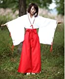 巫女 高品質衣装 足袋(たび)付き コスチューム 白 赤 Lサイズ