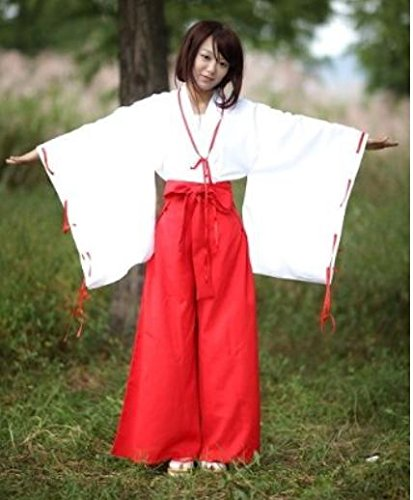 Inuyasha Kikyo Cosplay Costume (Miko high quality costume leg bags (each) with costume white red size L)