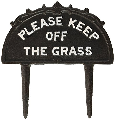 "Abbott Collection ""Keep Off Grass"" black sign"
