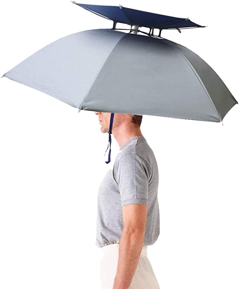 Luwint 36'' Diameter Double Layer Folding Compact UV Wind Protection Umbrella Hat