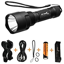 ThorFire C8S Flashlight with Bike Light Mount, 18650 battery and USB charger, 900 lumen XML2 Led light perfect for the Cycling, Camping, Hiking