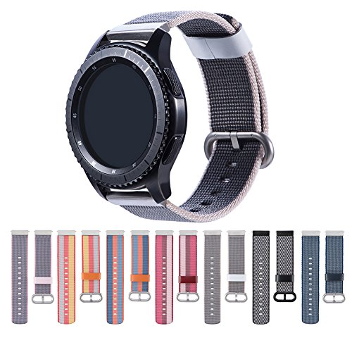 Cumeou Compatible Samsung Galaxy Watch 46mm Band,22mm Woven Nylon Bracelet Strap w/Quick Release Pins Replacement Samsung Gear S3 Classic/Frontier/Huawei Watch 2 Classic/Pebble Classic/Time Steel
