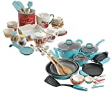 The Pioneer Woman Vintage Speckle 24-Piece Cookware Combo Set in Turquoise bundle with Copper Charm Stainless Steel Copper Bottom Cookware Set, 10 Piece
