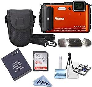 Nikon COOLPIX AW130 16.0-Megapixel 5X Optical Waterproof Digital Camera + Extra Battery, 64GB Memory Card+ Accessory Zone cloth + Accessory Bundle (Orange)