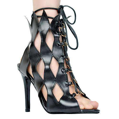 Kolnoo Womens Fashion Handmade 11cm Slim High Heel Lace Up Hollow Style Sexy Party Prom Sandals Shoes Black tjtX4lSd