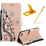 Strap Case for iPhone 6S Plus,Smart Leather Cover for iPhone 6 Plus,Herzzer Stylish Butterfly Flower Design Wallet Folio Case Full Body PU Leather Protective Stand Cover with Inner Soft Silicone Shell for iPhone 6 Plus/6S Plus 5.5 inch + 1 x Free Yellow Cellphone Kickstand + 1 x Free Yellow Stylus Pen - Gold