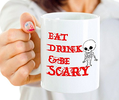 Pusheen Costume Ideas (Eat Drink And Be Scary Mug, Funny Coffee Mugs Best Halloween Costumes Holiday Gifts Idea, 11oz, 15oz, tea cup, gift)