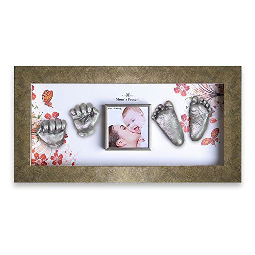 Momspresent Baby Hands and Feet 3D Casting Print DIY Kit with Gold Frame1(casting silver) by Moms Present
