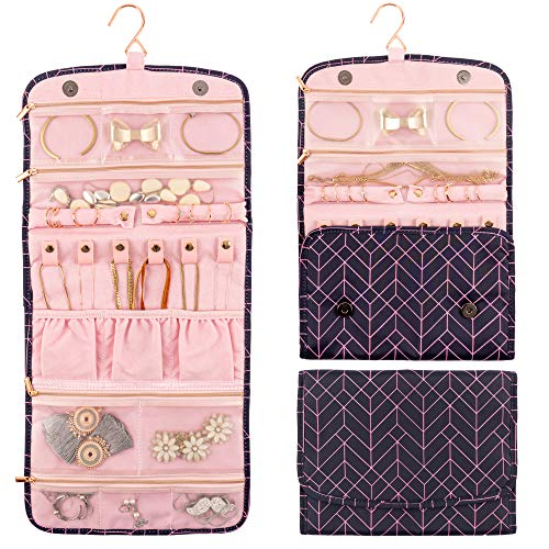 Travel Jewelry Organizer Foldable Hanging - Compact Portable Case Holder with Hanger for Rings Necklaces Bracelets Earrings Roll Display Bag Carrier for Daily Accessories for Journey Travel Women Gift