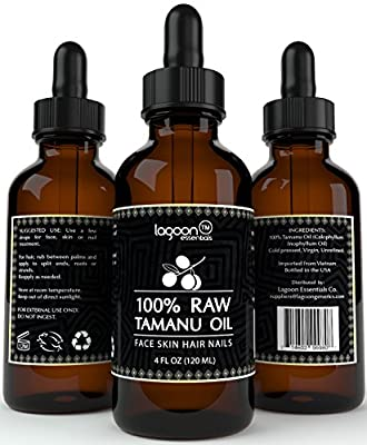 1# Tamanu Oil Cold Pressed - HUGE 4 OUNCES - 100% Raw Virgin Pure Unrefined For Hair, Skin, Face, Nails, Scars, Stretch Marks and More. Highest Quality Dark Green Color. Bottle With Dropper + E-Book.
