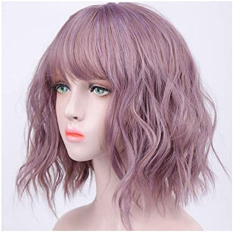 Czc Dp Women S Accessories Beautiful Woman With Short Hair And Bangs Hairstyle Heat Resistant Wig Brings Fashion Different Temperaments Suitable For Women Amazon De Kuche Haushalt