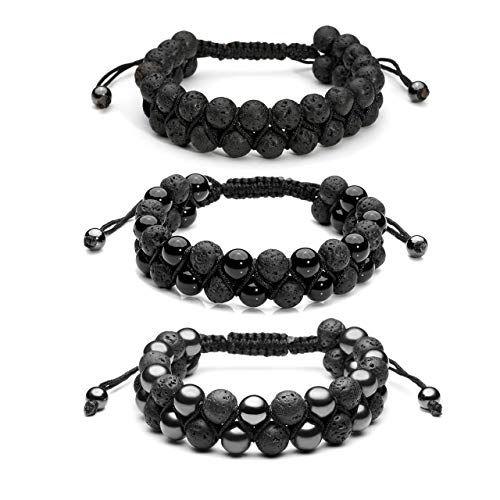 (Top Plaza 3 Pcs Men Women 8mm Lava Rock Stone Aromatherapy Essential Oil Diffuser Bracelets Braided Rope Natural Stone Yoga Beads Bracelet - Lava Stone + Magnetic Hematite + Black Agate Onyx)