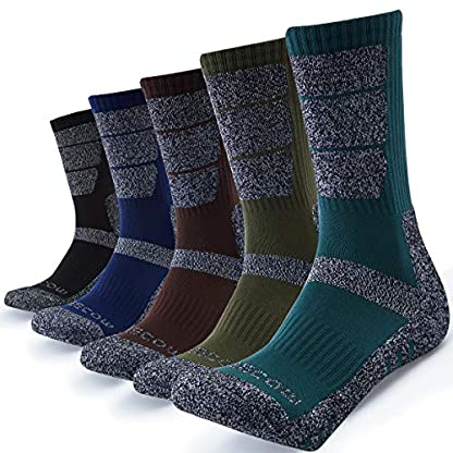 5 Pairs Mens Socks For Hiking Trekking Walking,Breathable Cushion Comfortable Casual Crew Socks 1