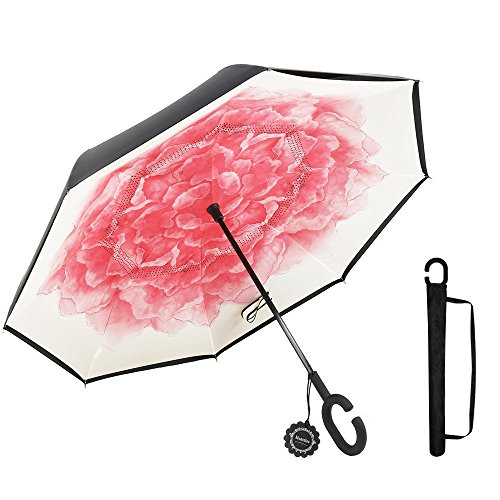 Lotus Umbrella - Monstleo Inverted Umbrella,Double Layer Reverse Umbrella for Car and Outdoor Use by, Windproof UV Protection Big Straight Umbrella With C-Shaped Handle and Carrying Bag
