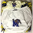 "Memphis Tigers Baby Diaper Cover and Shabby Bow Headband Gift Set (Newborn - 6 months/ 13"")"