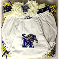 Memphis Tigers Baby Diaper Cover and Shabby Bow Headband Gift Set (Newborn - ...