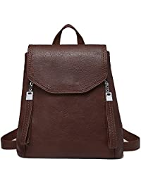 Kasqo Women Backpack Purse, Faux Leather Fashion Backpack Purse Elegant Flap Rucksack for Ladies Girls for Daily Use