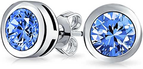 Bling Jewelry 925 Silver Simulated Blue Topaz CZ Stud Earrings 6mm